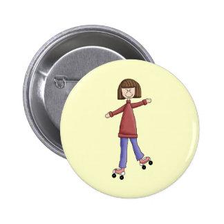 Girl Rollerskating Button