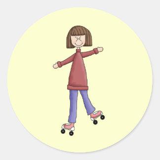 Girl Rollerskating Classic Round Sticker