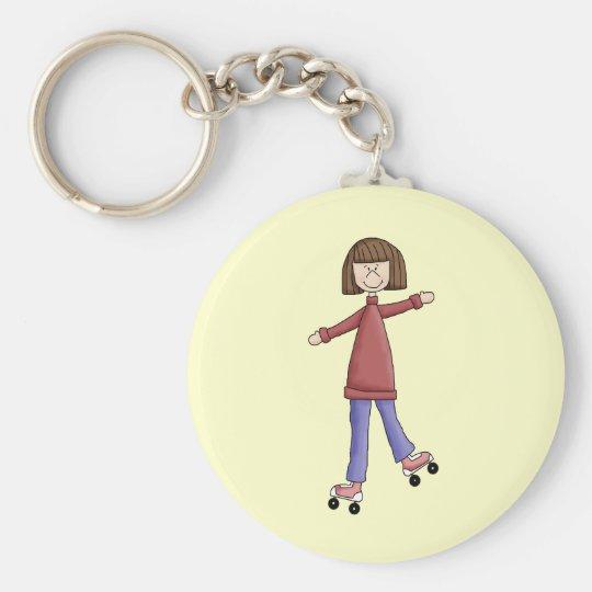 Girl Rollerskating Keychain
