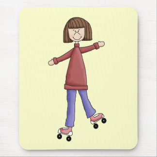 Girl Rollerskating Mouse Pad