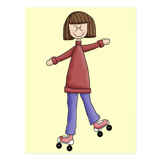 Girl Rollerskating Postcard