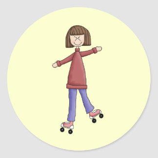 Girl Rollerskating Round Stickers