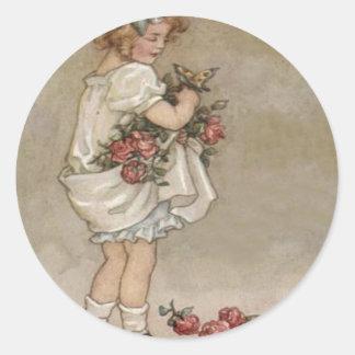 Girl Rose Butterfly Birthday Classic Round Sticker