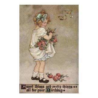Girl Rose Butterfly Birthday Photo Print