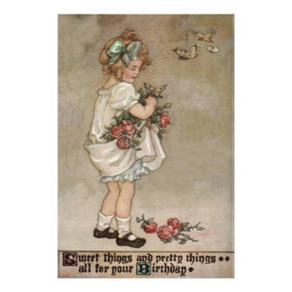Girl Rose Butterfly Birthday Photo Art
