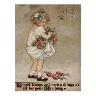 Girl Rose Butterfly Birthday Postcard