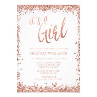 Girl Rose Gold Faux Glitter Baby Shower Invitation