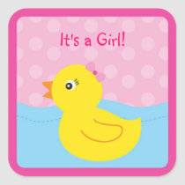 Girl Rubber Ducky Duck Envelope Seals Stickers