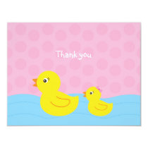 Girl Rubber Ducky Duck Flat Thank You Note Cards