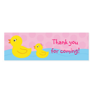Girl Rubber Ducky Duck Goodie Bag Tags Gift Tags Mini Business Card