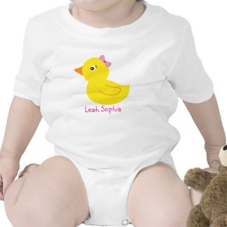 Girl Rubber Ducky Duck Personalized Baby T-Shirt