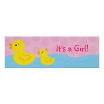 Girl Rubber Ducky Duck Personalized Banner Sign Poster