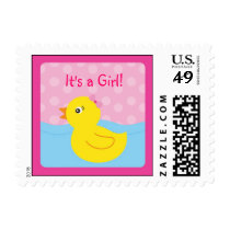 Girl Rubber Ducky Duck Postage Stamps