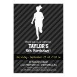Girl Running; Black & Dark Gray Stripes 5x7 Paper Invitation Card