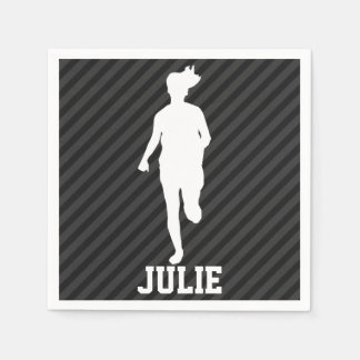 Girl Running; Black & Dark Gray Stripes Standard Cocktail Napkin
