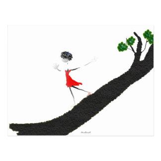Girl Running Down a Tree Postcard