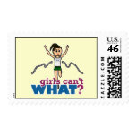 Girl Running in Green Postage Stamp