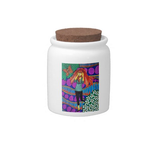 Girl Running In Psychedelic Garden Candy Dishes