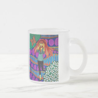 Girl Running In Psychedelic Garden Frosted Glass Coffee Mug