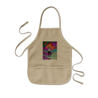 Girl Running In Psychedelic Garden Kids' Apron