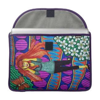 Girl Running In Psychedelic Garden MacBook Pro Sleeve