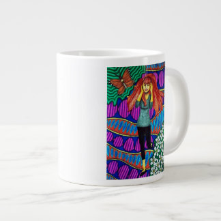 Girl Running In Psychedelic Garden Extra Large Mugs