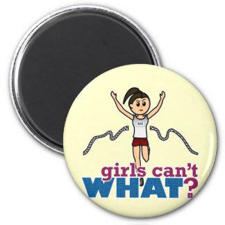 Girl Running in Red 2 Inch Round Magnet