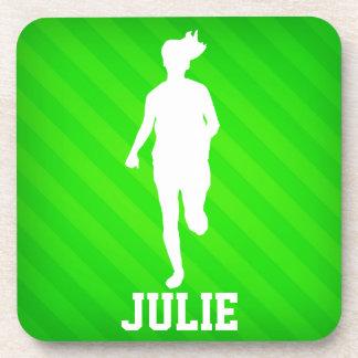 Girl Running; Neon Green Stripes Drink Coaster