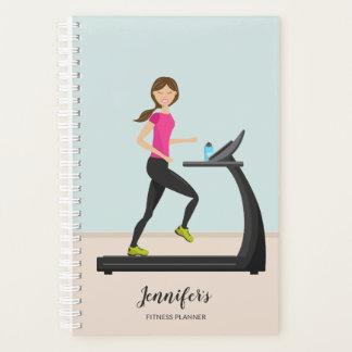 Girl Running On A Treadmill Illustration Fitness Planner