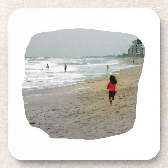 Girl Running On Florida Beach Drink Coaster