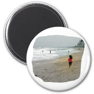 Girl Running On Florida Beach magnet