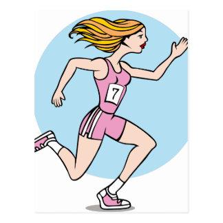 Girl Running Race Cartoon Postcard