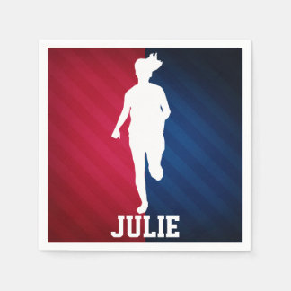 Girl Running; Red, White, and Blue Standard Cocktail Napkin