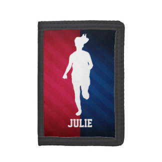 Girl Running; Red, White, and Blue Trifold Wallet