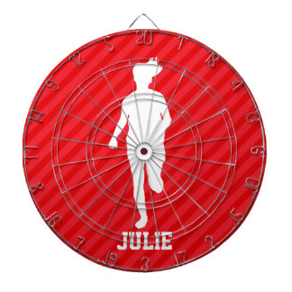 Girl Running; Scarlet Red Stripes Dartboard With Darts