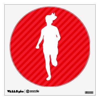 Girl Running; Scarlet Red Stripes Room Sticker