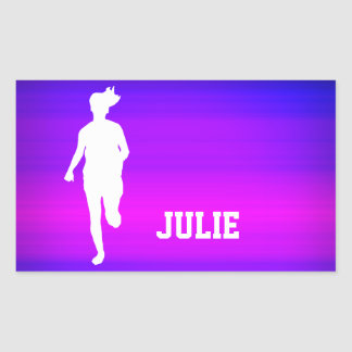 Girl Running; Vibrant Violet Blue and Magenta Rectangular Sticker
