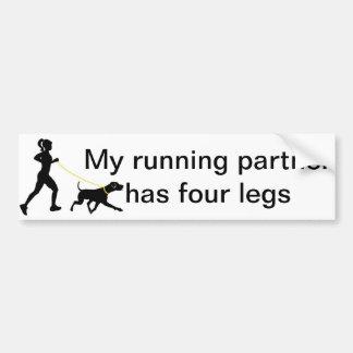 Girl running with her dog bumper sticker car bumper sticker