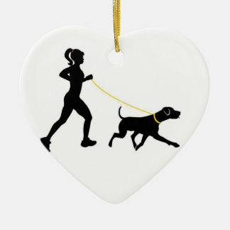 Girl running with her dog ornament