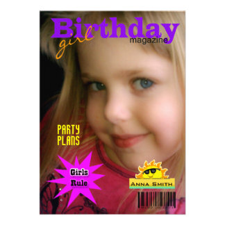 Girl s Birthday Party Magazine Custom Announcement