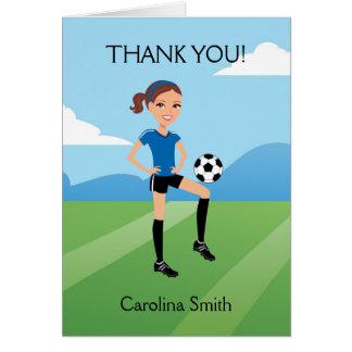 Girl s Cartoon Soccer Folded Card