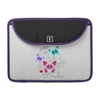 "Girl's ""Free to be Me"" Butterflies MacBook Pro Sleeves"