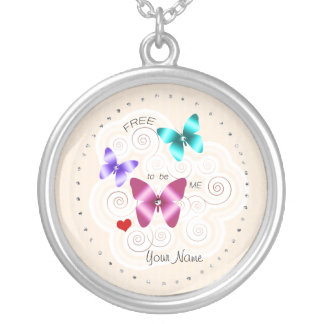"Girl's ""Free to be Me"" Butterflies Silver Plated Necklace"