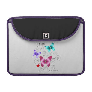 """Girl's """"Free to be Me"""" Butterflies Sleeve For MacBook Pro"""
