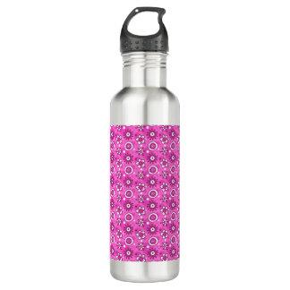 Girl's Fun Cute Pink Flowers & Shapes Pattern 24oz Water Bottle