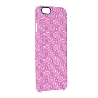 Girl's Fun Cute Pink Flowers & Shapes Pattern Clear iPhone 6/6S Case