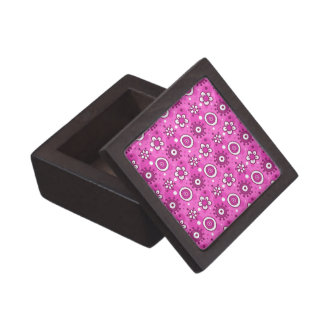 Girl's Fun Cute Pink Flowers & Shapes Pattern Jewelry Box