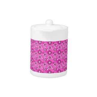 Girl's Fun Cute Pink Flowers & Shapes Pattern Teapot