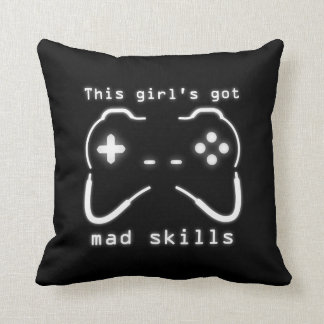 Girl s Got Mad Skills Video Game Controller Throw Pillows