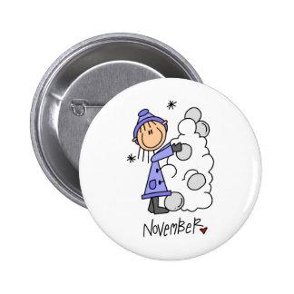 Girl s November Birthday Pinback Buttons